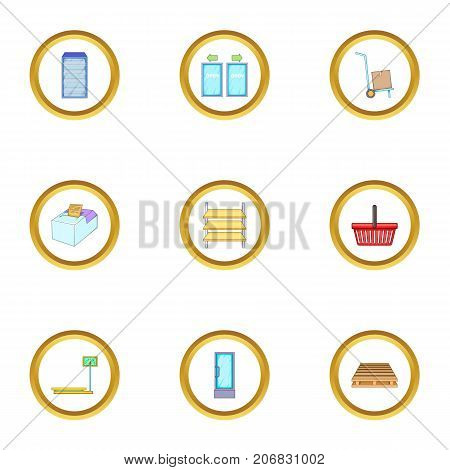 Shop icons set. cartoon style set of 9 shop vector icons for web design