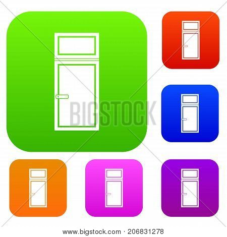 Wooden window set icon color in flat style isolated on white. Collection sings vector illustration