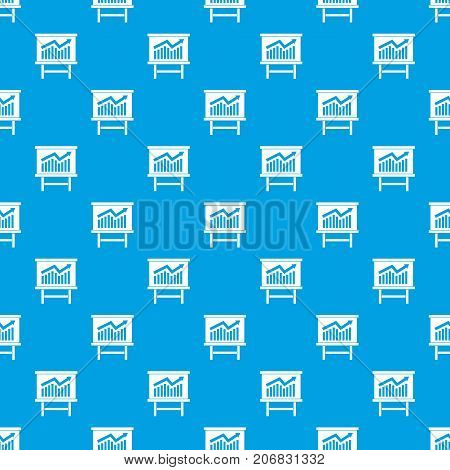 Growing chart on presentation board pattern repeat seamless in blue color for any design. Vector geometric illustration
