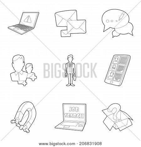 Equipment for business icons set. Outline set of 9 equipment for business vector icons for web isolated on white background