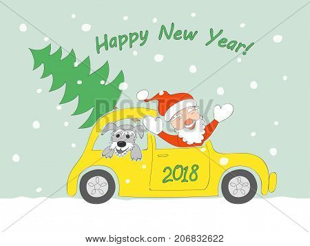New year card with funny cartoon santa claus happy schnauzer puppy and christmas fir-tree in the retro auto and text Happy New Year on the snow background. eps 10