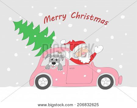 Christmas card with funny cartoon santa claus happy schnauzer puppy and fir-tree in the retro auto and text Merry Christmas on the snow background. eps 10