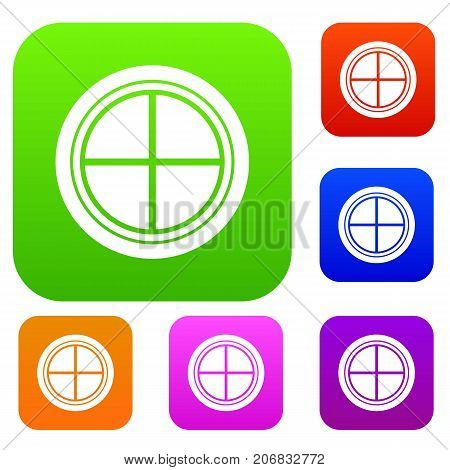White round window set icon color in flat style isolated on white. Collection sings vector illustration