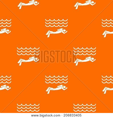 Scuba diver man in diving suit pattern repeat seamless in orange color for any design. Vector geometric illustration