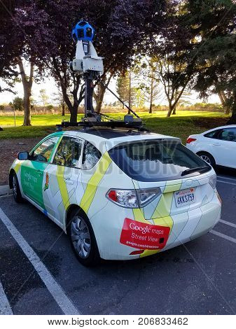 MOUNTAIN VIEW CA/USA - September 19 2017: Google Maps vehicle parked in front of one of Google buildings at Google campus in Mountain View California. This vehicle is used to take photographs of streets for a feature called Street View in Google Maps.