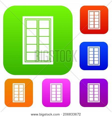 Wooden latticed window set icon color in flat style isolated on white. Collection sings vector illustration