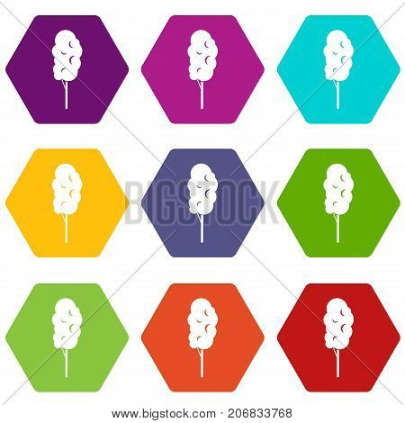 Tall wood icon set many color hexahedron isolated on white vector illustration
