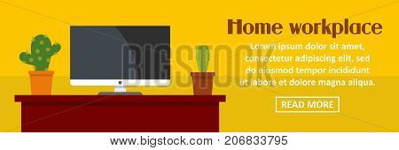 Home workplace with cactus banner horizontal concept. Flat illustration of home workplace with cactus banner horizontal vector concept for web design