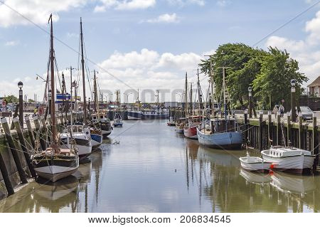 Harbour scenery in Buesum around Dithmarschen in Schleswig-Holstein located in Germany