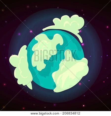 Blue planet concept background. Cartoon illustration of blue planet vector concept background for web