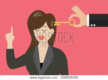 Man holding a key unlocking business woman mind. Vector illustration