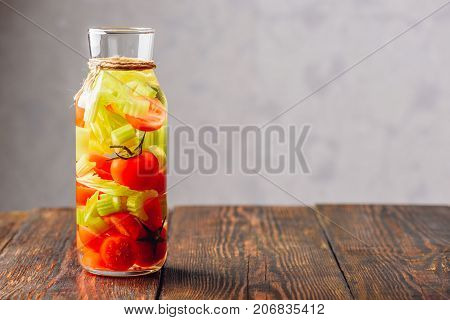Water Infused with Cherry Tomato and Celery. Copy Space on the RIght.