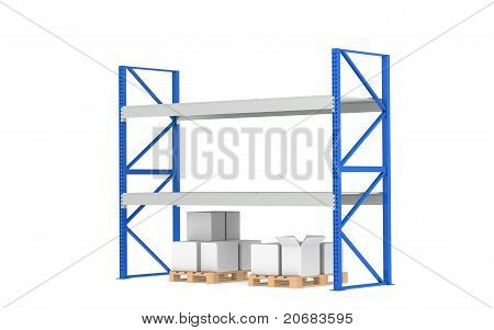 Warehouse Shelves. Low Stock Level. Part Of A Blue Warehouse And Logistics Series.
