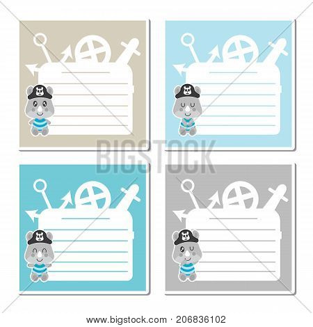 Cute rhino pirate boys on colorful frame vector cartoon illustration for kid memo paper design, planner paper and stationery paper