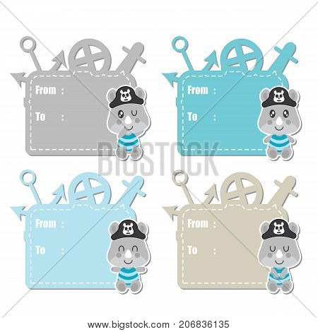 Cute rhino pirates boys vector cartoon illustration for baby shower gift tag design, label tag and sticker set design