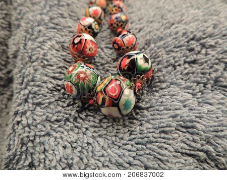 Glass Millefiori Bead Necklace Knotted with Silk