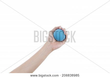 woman hand holding stress ball on white background