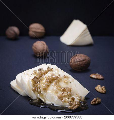 Suluguni Cheese, Walnut And Honey On Black Slate Platter