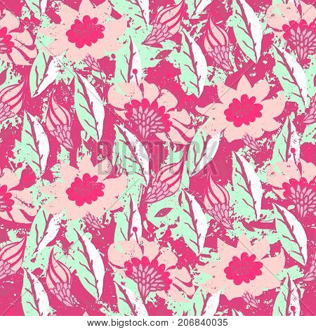 Vector hand painted floral pattern with flowers on pink background. Bold spring summer print with flowers and leafs hand drawn in bright color. Floral grunge bohemian print for retro textile design