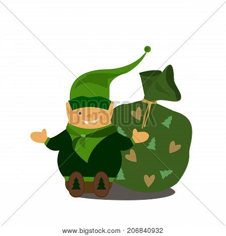 Gnome Vector Illustration Vector flat elf character portrait isolated. Happy New Year Merry Xmas design element. Cute gnome. Fairy dwarf.A bag with presents.