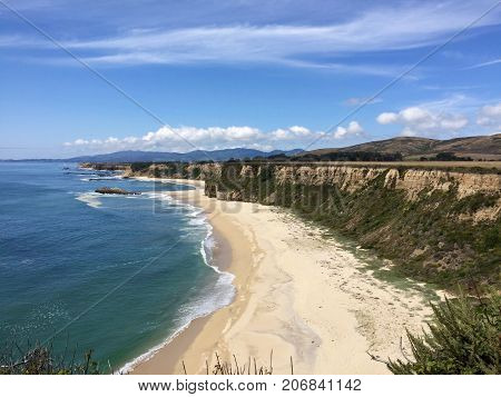 Spectacular Cliffside View of the Beach and the Pacific Ocean, Northern California Coast near Half Moon Bay-Maverick's Surf Spot in the Distance