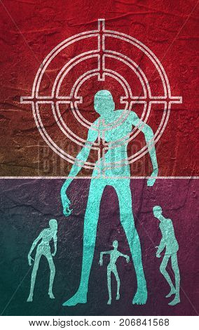 Zombie silhouettes as a target for aim. Halloween theme background. Grunge distress texture.