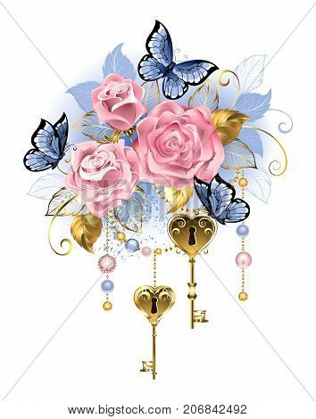 Antique golden keys with pink roses golden leaves and blue butterflies on a white background. Design with roses. Pink rose. Trendy colors. Rose Quartz and serenity.