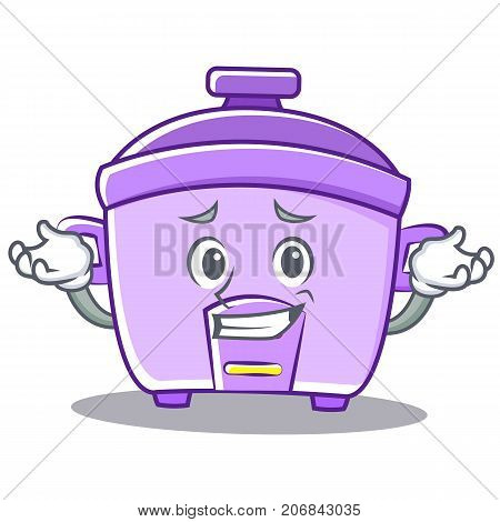 Grinning rice cooker character cartoon vector illustration
