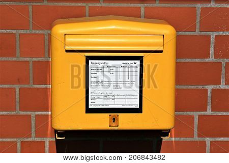 An Image of a german Postbox - Bad Pyrmont/Germany - 10/01/2017