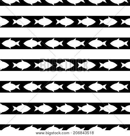 black and white seamless pattern with fish. vector