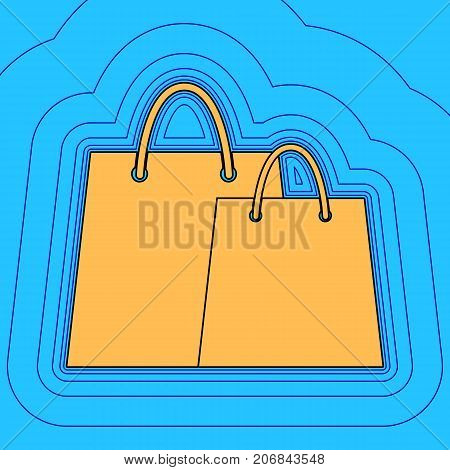 Shopping bags sign. Vector. Sand color icon with black contour and equidistant blue contours like field at sky blue background. Like waves on map - island in ocean or sea.