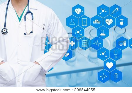 smart doctor with a stethoscope and chemical liquid in laboratory test tube with medical icon in hexagon pattern background people laboratory science chemical and medical research concept