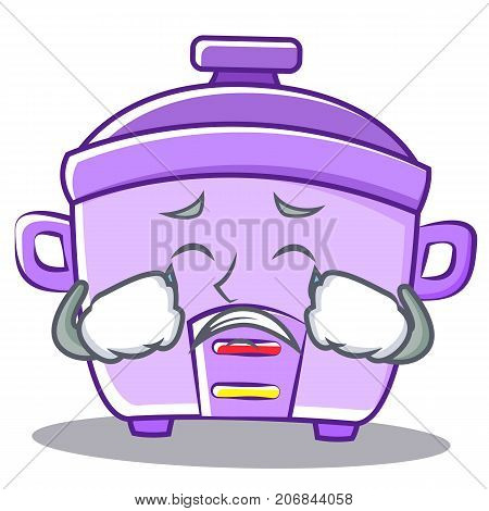 Crying rice cooker character cartoon vector Crying