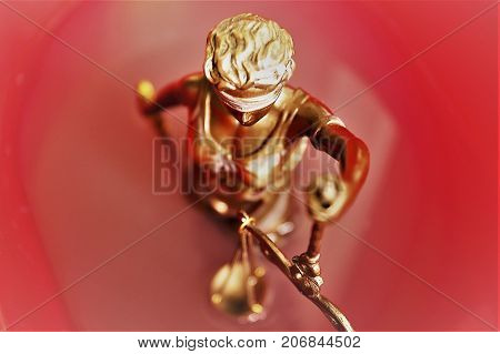 An concept Image of a justice statue into blood - bloody justice