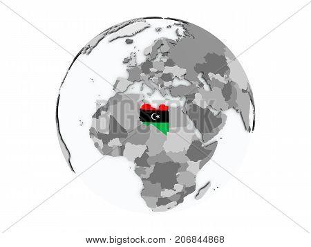 Libya On Globe Isolated