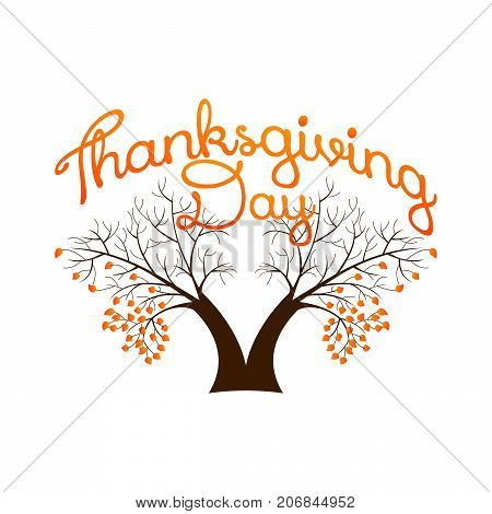 white thanksgiving backgrounds with big two tree.vector