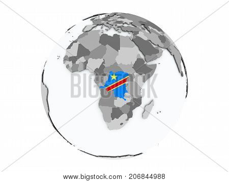 Democratic Republic Of Congo On Globe Isolated