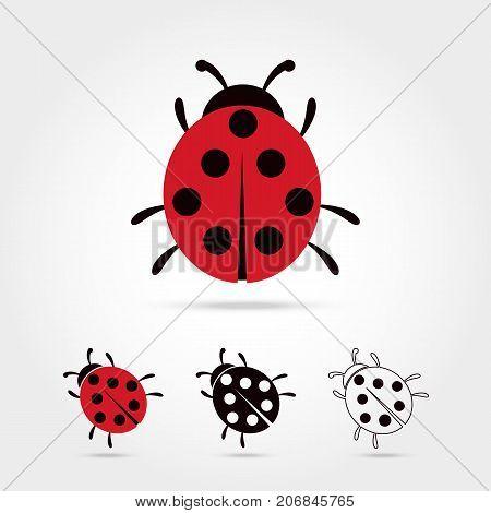 Ladybug vector icon cartoon style isolated on white background. Ladybug vector illustration. Ladybug isolated black and color icons vector silhouette. Ladybug animal insect vector flat style