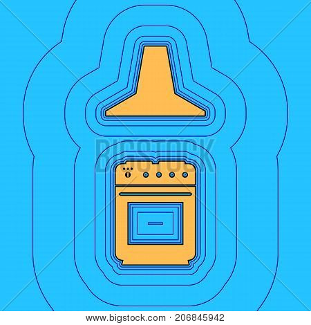 Electric or gas stove and extractor kitchen hood sign. Vector. Sand color icon with black contour and equidistant blue contours like field at sky blue background. Like waves on map - island in ocean or sea.