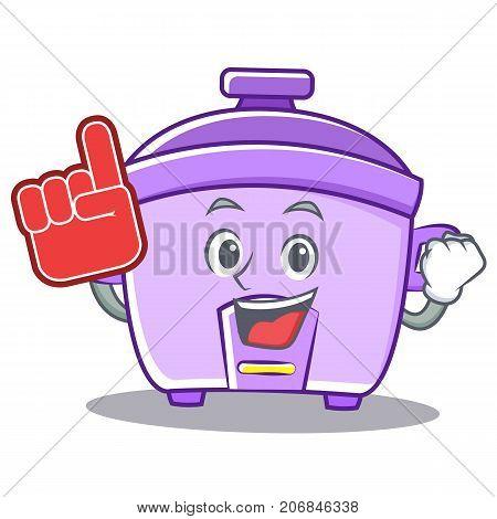Foam finger rice cooker character cartoon vector