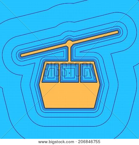 Funicular, Cable car sign. Vector. Sand color icon with black contour and equidistant blue contours like field at sky blue background. Like waves on map - island in ocean or sea.