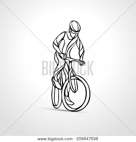 Abstract creative lineart silhouette of bicyclist. Outline cyclist wave style logo. Front view. Vector illustration of bike