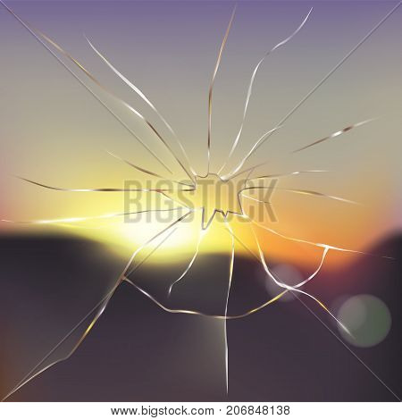Broken window with blurred sunset or sunrise scene outside and light rays passing through cracked glass realistic vector illustration. Destroying obstacles, breaking limitations, new vision concept
