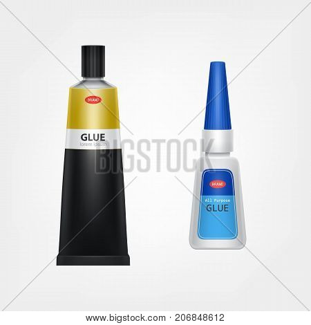Branded metal and plastic glue tubes with label and product information realistic vector template isolated on white background. Different size classic containers mock-up of all purpose, instant glues