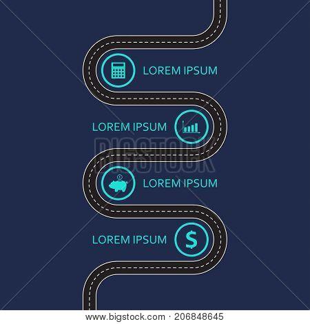 Road infographic template. Asphalt winding road design element. Vector illustration.