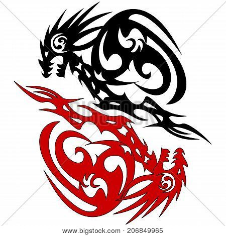 Tattoo silhouette two dragon on white background vector tattoo sketch two dragons stylized illustration