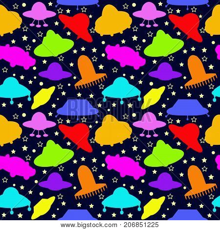 UFO colorful seamless pattern background for kids