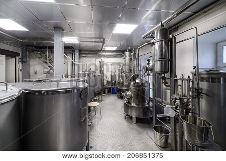 Industrial food equipment, industrial distillers of alcohol. Clean, chrome equipment