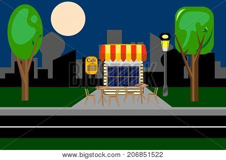 Cafe, restaurant, quickly. Evening in the park Vector illustration