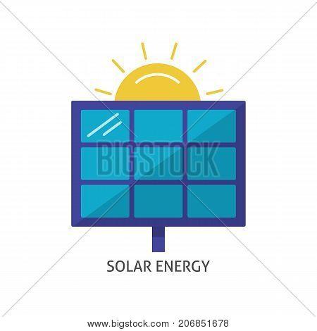 Solar panel icon in flat style. Alternative renewable energy source symbol isolated on white background.